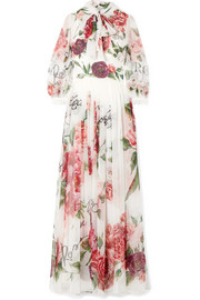 Pussy-bow floral-print silk-chiffon gown