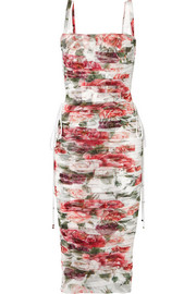 Dolce & Gabbana Lace-up ruched floral-print cotton and silk-blend tulle midi dress