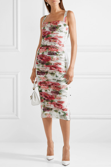 Lace Up Ruched Floral Print Cotton And Silk Blend Tulle Midi Dress by Dolce & Gabbana