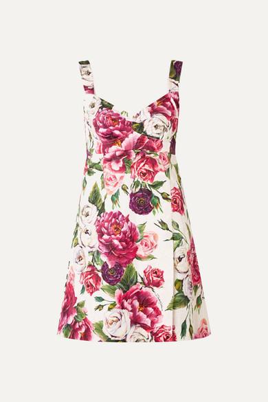 Floral Print Cotton Blend Cloqué Mini Dress by Dolce & Gabbana