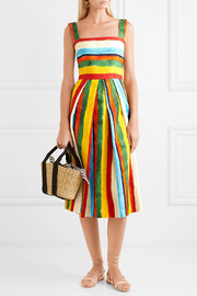 Pleated striped brocade midi dress