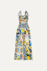 Dolce & Gabbana Pleated printed cotton-poplin jumpsuit