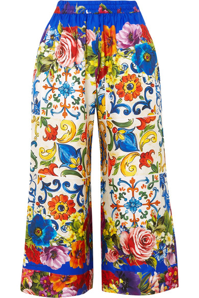 Dolce & Gabbana - Cropped Printed Silk-twill Wide-leg Pants - Blue