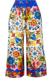 Dolce & Gabbana Cropped printed silk-twill wide-leg pants
