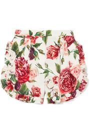 Ruffled floral-print silk-blend shorts