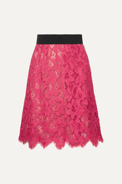 Dolce & Gabbana - Guipure Lace Skirt - Pink