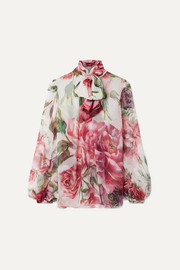 Pussy-bow floral-print silk-chiffon blouse