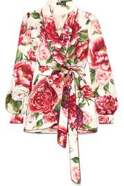 Embellished floral-print silk-twill wrap top