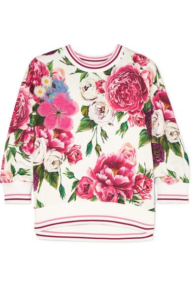 Dolce & Gabbana - Embellished Appliquéd Floral-print Cotton-blend Jersey Sweatshirt - Pink