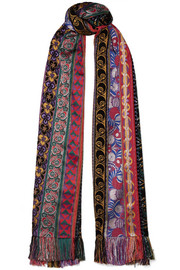 Fringed jacquard, velvet and chiffon scarf