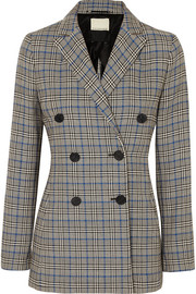 Checked cotton-blend blazer