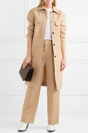 Keiko checked cotton and linen-blend canvas trench coat
