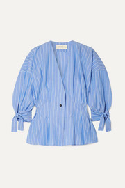 Trivano striped cotton-poplin blouse