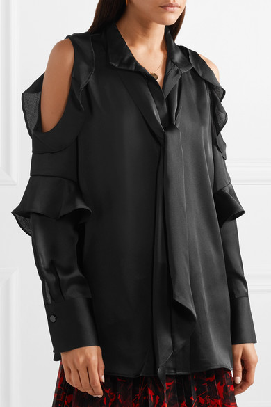 Cheap For Nice Cheap Sale Best Place Pallerno Cold-shoulder Ruffled Satin Blouse - Black By Malene Birger Sale The Cheapest 9M07qk