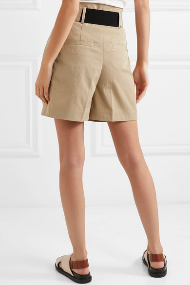 Waoi Belted Pleated Canvas Shorts - Beige By Malene Birger xWLrve