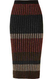 Hollis striped metallic ribbed-knit midi skirt