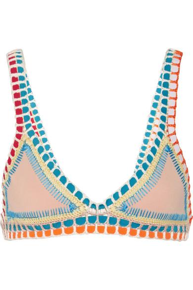 Kiini Luna Triangel-Bikini-Oberteil mit Häkelbesatz