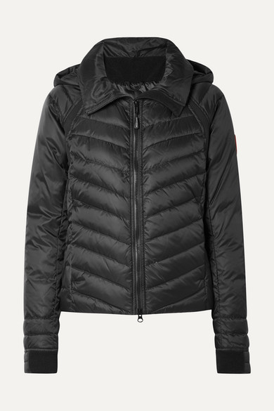 Hybridge Base Hooded Quilted Shell Down Jacket in Black