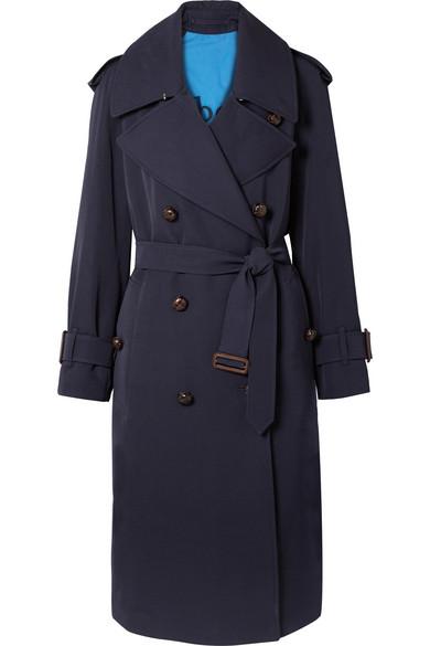 The Regina Oversized Wool-Gabardine Trench Coat in Blue