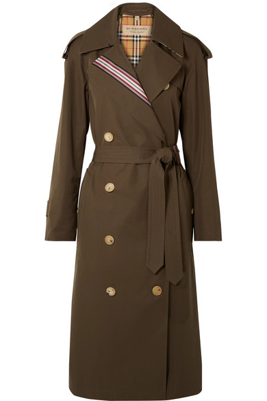Striped Cotton Gabardine Trench Coat by Burberry