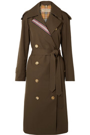 Striped cotton-gabardine trench coat