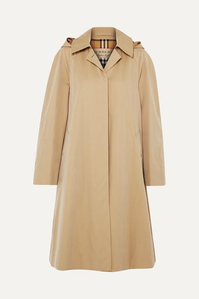 Oversized Hooded Cotton-Gabardine Trench Coat in Beige