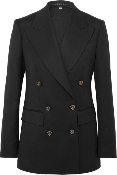 Double-Breasted Crest-Button Evening Jacket in Black