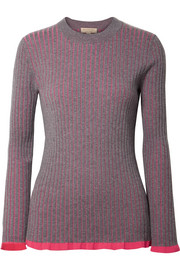 Striped ribbed cashmere and silk-blend sweater