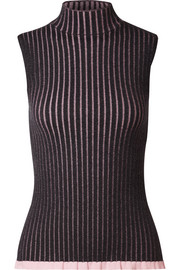 Striped ribbed cashmere and silk-blend turtleneck top