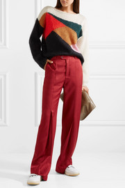 Oversized color-block mohair and silk-blend sweater
