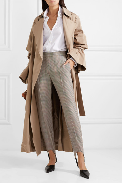 Burberry Pants Checked wool-blend slim-leg stirrup pants