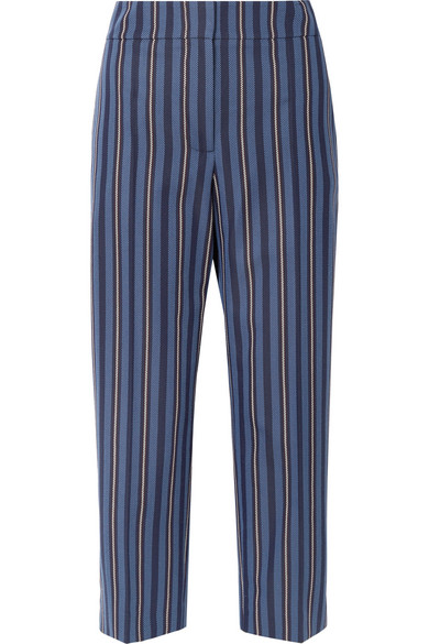 Striped Wool Blend Cropped Trousers - Blue Burberry SGVmR1b