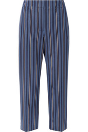 Cropped striped wool-blend jacquard straight-leg pants