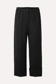 Burberry Cropped wool and silk-blend wide-leg pants