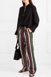 Striped cotton and silk-blend satin straight-leg pants