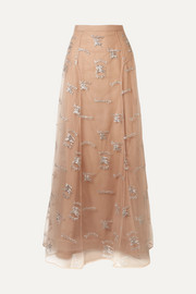 Burberry Sybilla embroidered tulle maxi skirt