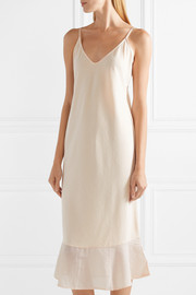 Skin Voile-trimmed cotton-jersey chemise