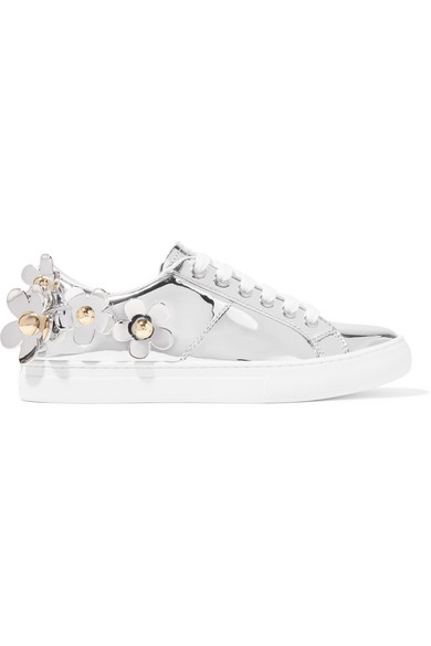 Women'S Daisy Embellished Patent Leather Lace Up Sneakers in Silver