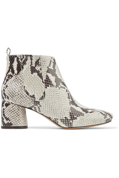 Snake Effect Leather Ankle Boots by Marc Jacobs