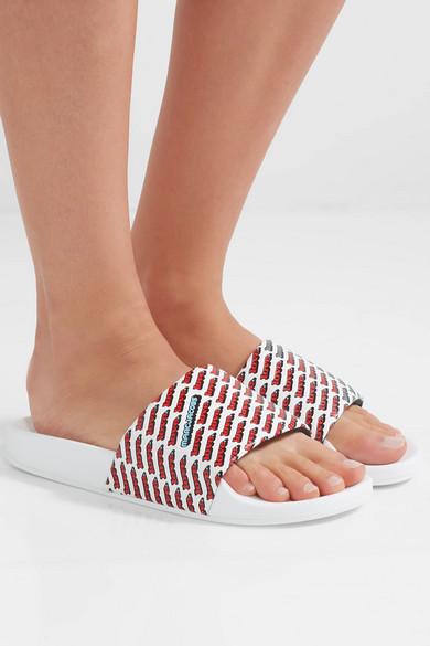 f31229bbe029aa Marc Jacobs Women S Love Aqua Leather Slide Sandals In 101 Wht Mul ...