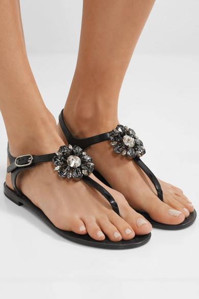 Dolce & Gummi Gabbana | Sandalen aus Gummi & und Lackleder mit Kristallverzierung b103b6