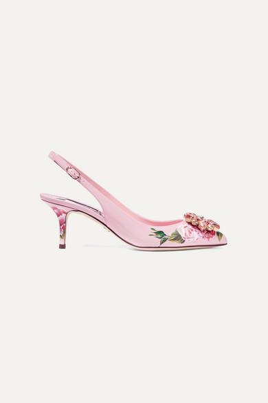 Slingback-pumps Aus Schnurgebundener Spitze Mit Satinbesatz Und Kristallen - Pink Dolce & Gabbana SSvvp