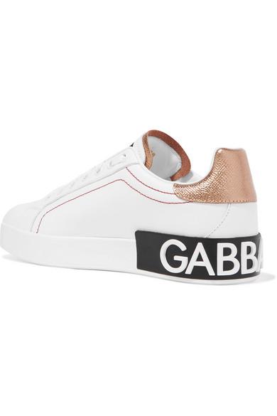 Dolce Logo sneakers trimmed embellished amp; Gabbana metallic leather r1far