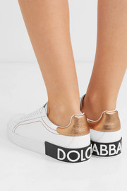 Logo-embellished metallic-trimmed leather sneakers