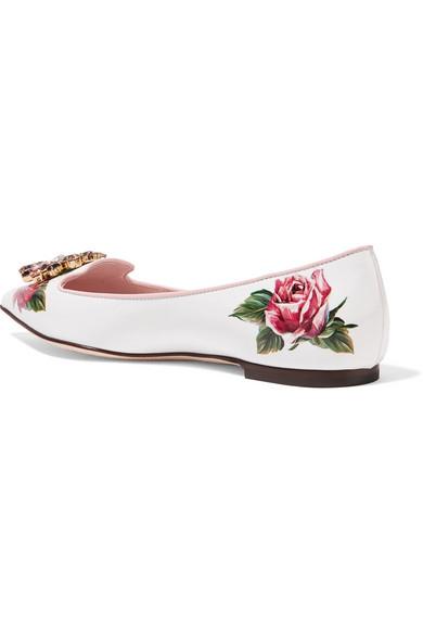 Dolce & Gabbana floral | Flache Schuhe aus floral Gabbana bedrucktem Lackleder mit spitzer Kappe und Verzierungen 77a6c1