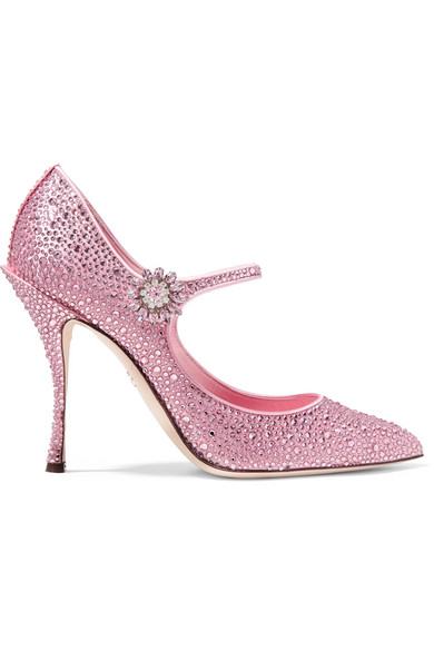Crystal-Embellished Satin Mary Jane Pumps in Baby Pink