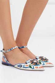 Embellished printed patent-leather point-toe flats