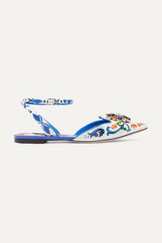 Dolce & Gabbana Embellished printed patent-leather point-toe flats