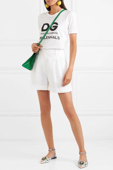 Dolce & Gabbana | spitzer Verzierte flache Schuhe mit spitzer | Kappe aus bedrucktem Leder 8ea79a
