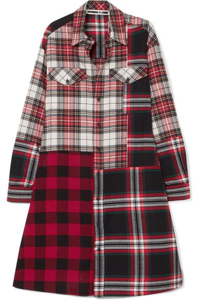 McQ Alexander McQueen - Patchwork Cotton Shirt Dress - Red